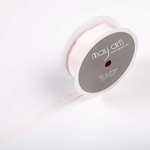 Faux Silk Ribbon - May Arts 1/2'' Faux Silk Wrinkled Ribbon (Roll 50 Yard) Light Pink