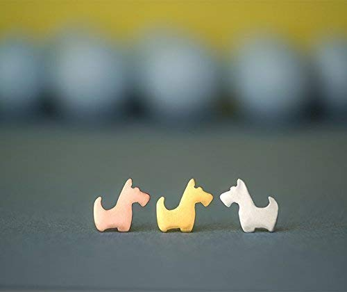 Tiny Scottie Earrings Scottish Terrier Sterling Silver Studs Dog Earrings 0.0007