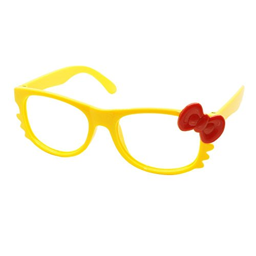 FancyG Cute Nerd Glass Frame with Bow Tie Cat Eyes Whiskers Eyewear for Kids 3-12 NO LENS - Yellow with Red Bow