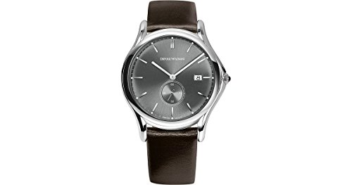 Emporio Armani Swiss Made Men's Quartz Stainless Steel and Leather Dress Watch, Color:Brown (Model: ARS1000)