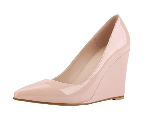 Pointed Wedge Classic Shoes nude Elegant High Slip patent Pumps Heel Women's On pu Toe FaZ4xwqnq