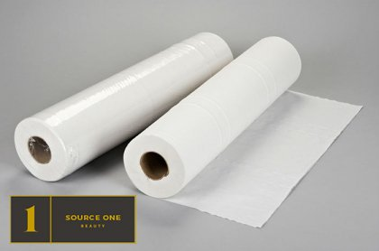 White Disposable Non-Woven Bed Cover ROLL Perforated Massage Table Sheets Wax Facial Chair by Source One Beauty