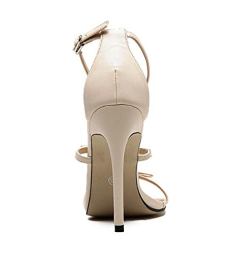 New Toe LINYI Talons Beige Hauts Open Sauvage Talons Bow Eté Stiletto Mince Femme Femmes Sandales Chaussures Mot xYvHgpqv