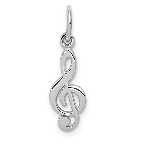 (14k White Gold Polished Flat Treble Clef Charm 20x5mm)