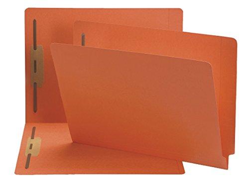 Smead End Tab Fastener File Folder, Shelf-Master® Reinforced Straight-Cut Tab, 2 Fasteners, Letter Size, Orange, 50 per Box (25640)