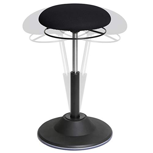 Seville Classics OFF65906 Airlift 360 Sit-Stand Adjustable Ergonomic Active Balance Non-Slip Desk Stool, Black