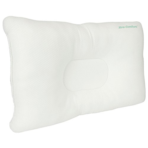Cervical Pillow by Xtra-Comfort - Neck Pain Relief for Back and Side Sleepers - Comfortable & Therapeutic Chiropractic & Orthopedic Support Contours for Head & Spine Alignment - Washable Cover (Spine Neck)