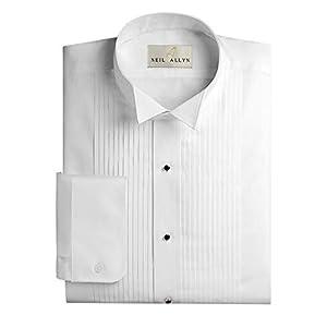Neil Allyn Men's Slim FIT Wing Collar 1/4″ Pleats Tuxedo Shirt