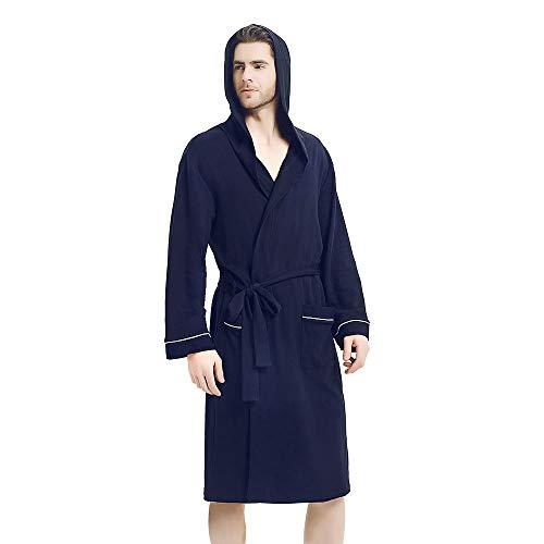 U2SKIIN Mens Hooded Bathrobe, Lightweight Bathrobe with Hood, Plush Cotton Spa Robe for Men -
