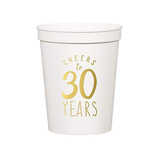Cheers to 30 Years Plastic Cups for a 30th Birthday Party, Set of 10, 30th Birthday, 30th Birthday Party Decorations, Tableware, Retirement Decorations, Stadium Cups]()
