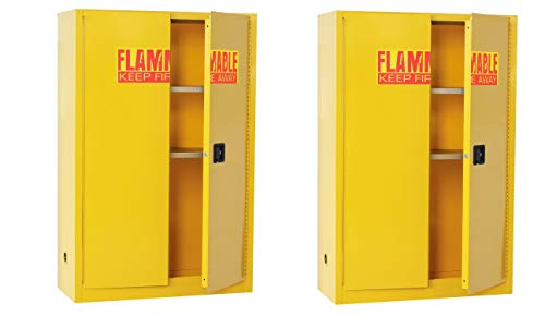 - Sandusky Lee SC450F Yellow Steel Safety Cabinet for Flammable Liquids, 2 Shelves, 2 Door Manual Close, 45 Gallon Capacity, 65