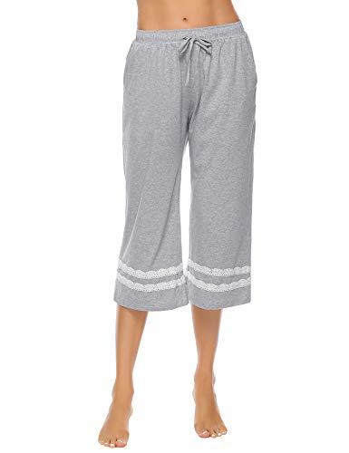 Hawiton Women's Cotton Sleep Pajama Capri Pants Lace Nightwear Bottoms Grey