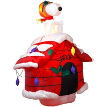 7ft airblown inflatable christmas snoopy on doghouse - Snoopy Blow Up Christmas Decorations