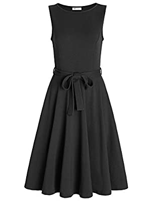 Pintage Women's Boat Neck Sleeveless A Line Dress with Belt