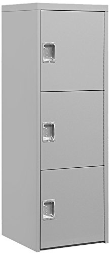 Salsbury Industries Welded Industrial Storage Cabinet with Three Doors, 72-Inch High by 24-Inch Deep, Gray by Salsbury Industries