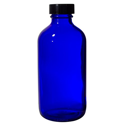 8 oz Cobalt Blue Glass Boston Round Bottle with Black Phenolic Cone Lined (Black Phenolic Resin)