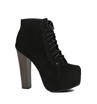 Amazon.com | Lace up Platform Ankle Round Toe Bootie | Ankle & Bootie