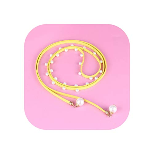 Price comparison product image Belt Waist Chain Rope Casual Thin Belt For Dress Candy Color Women PU Dresses Belts Pink, Yellow