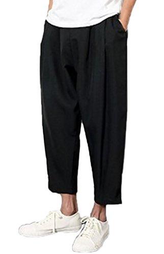 [オユオマ] クロップド ワイド パンツ メンズ ゆったり カジュアル ルーズ アンクル丈