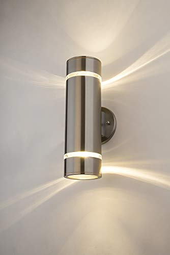 Finished Wall Lamp - Cerdeco Aureole-Series Modern Porch Light [ UL-Listed ] Stainless Steel Satin Nickel Finished Outdoor Wall Lamp Weather-Proof Cylinder Wall Sconce Suitable for Garden & Patio