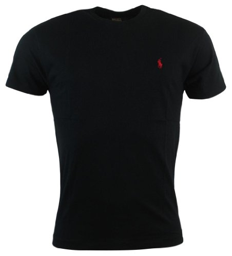 (Polo Ralph Lauren Men's Classic Fit Solid Crewneck T-Shirt (XX-Large, Black/Red Pony))