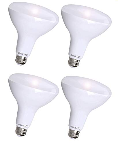 4 Pack Bioluz LED BR30 LED Dimmable Bulb, 65W Replacement (Uses 8W) 650 lumen, 3000K (Soft White), Indoor/Outdoor Flood Light, 110° Beam Angle, E26 Medium Base, UL-Listed (Pack of 4)