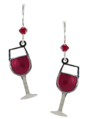 Sienna Sky Glass of Red Wine Earrings (Wine Glass Earrings)