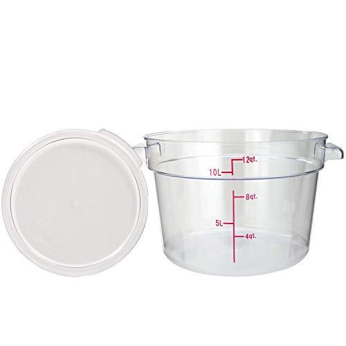 Tiger Chef 12 Quart Commercial Grade Clear Food Storage Round Polycarbonate Containers With Clear Lids