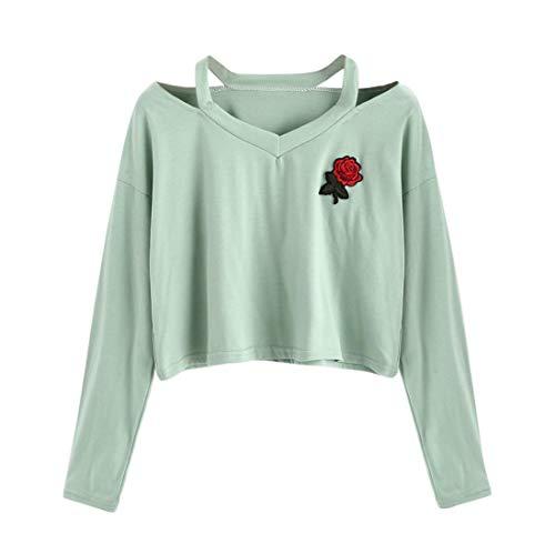FEITONG Womens Long Sleeve Sweatshirt Rose Print Causal Tops Blouse(S,Green) ()