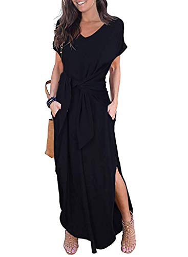 HOTAPEI Ladies Maxi Dresses for Women Plus Size Summer Casual Loose Pocket Tie Waist Short Sleeve Side Split Long Dress Black US 8 10