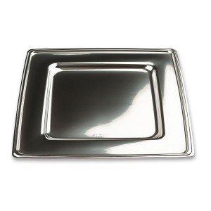 4 disposable plastic square silver plate 30 cm: Amazon.co.uk ...