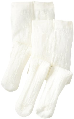 Country Kids Big Girls' Spring Flowers Lace Tights 2 Pair, Ivory, 9-11 (Ivory Flower Tights)