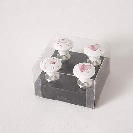 Tirador para muebles dise/ño de corazones 4 piezas, 6 cm de alto