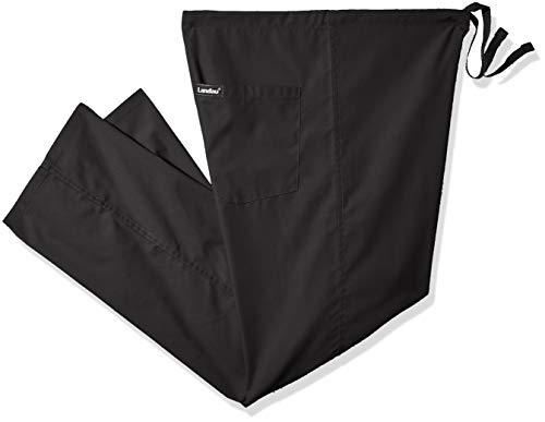 Landau Unisex Reversible Drawstring Scrub Pants, Black, X-Large Petite