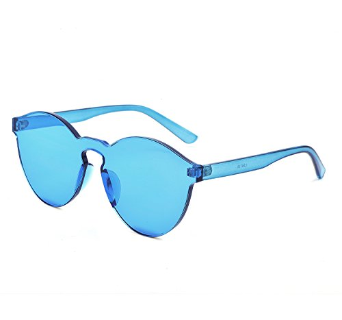 YANQIUYU One Piece Rimless Sunglasses Transparent Candy Color Eyewear Ultra-Bold Colorful Mono Block (Transparent blue, 58) Transparent Mens Sunglasses