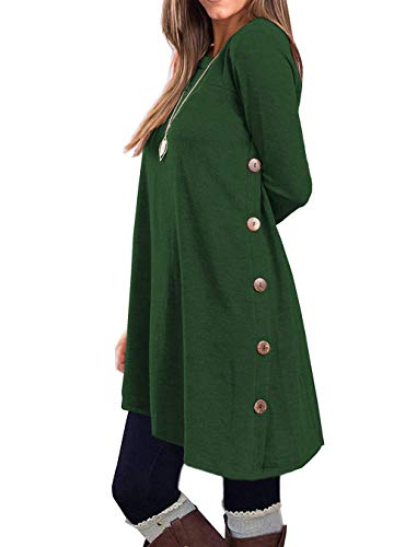 - KORSIS Women's Long Sleeve Round Neck Button Side T Shirts Tunic Dress Deep Green M