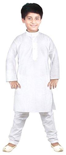 White Kids Pajamas (jbn creation Big Boys' Pure Cotton Kurta Pyajama 7-8 Years)