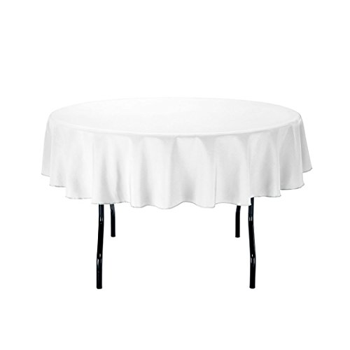 Genial LinenTablecloth 70 Inch Round Polyester Tablecloth White