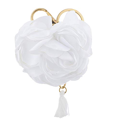 Lux Accessories Gold and White Rose Flower Fabric Tassel Bag Charm Keychain