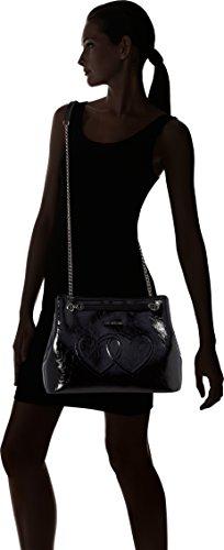 Schwarz Women's Love Bag x B Moschino Metal H Pu 25x35x14 T Nero cm Borsa Black Shoulder xa8xnT