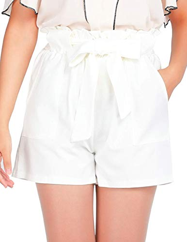 CHICIRIS Women's Elastic Waist Ruffle Self Tie Comfy Wide Leg Summer Beach Mini Shorts White S ()