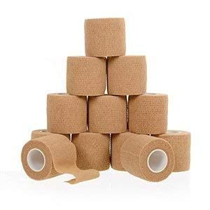 Self Adherent Cohesive Wrap Bandages 2inch-Wide (12-Pack) Bundle, 5 yds Self Adhesive Non Woven Bandage Rolls, Brown Athletic Tape for Wrist, Ankle, Hand, etc. Premium-Grade Medical Stretch - Tender Tape