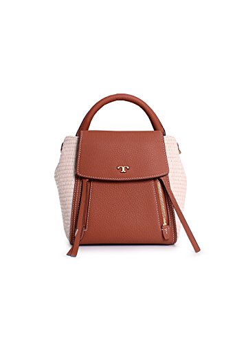 09e69a0bff4a Tory Burch Half Moon Straw Leather Crossbody Handbag in Natural Classic Tan