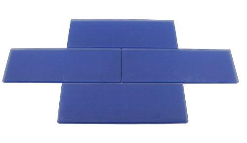 Cobalt Blue Frosted - 3x9 Cobalt Blue Subway Glass Tile - Bathroom Tile & Kitchen Backsplash Tile (Price Per 3 Square Feet, 16 Pieces)