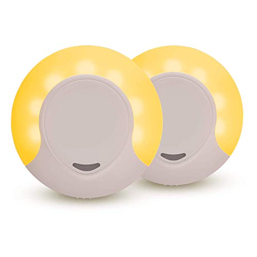 Sleep Aid Amber LED Night Light for Bedroom with Dusk to Dawn Sensor, Low Blue LED Promotes melatonin Production and Healthy Sleep, ON-Off-Auto Toggle, 2-Pack ()