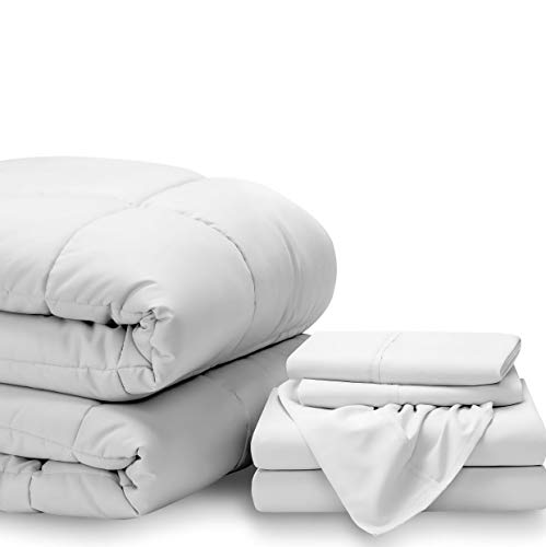 Hemau Bed-in-A-Bag 6 Piece Comforter & Sheet Set - Split Cal King Ultra-Soft 1800 Premium - Hypoallergenic - Bare Breathable Bedding (Split Cal King, White/White)   Style 503193415