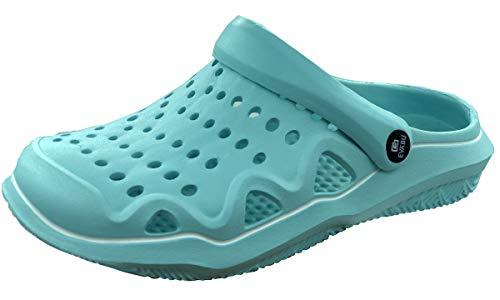 clapzovr Garden Clogs Women Men Water Shoes, Comfy Sandals Ultralight Slippers with Adjustable Strap Sky Blue 8.5 M US Women / 7.5 M Us Men