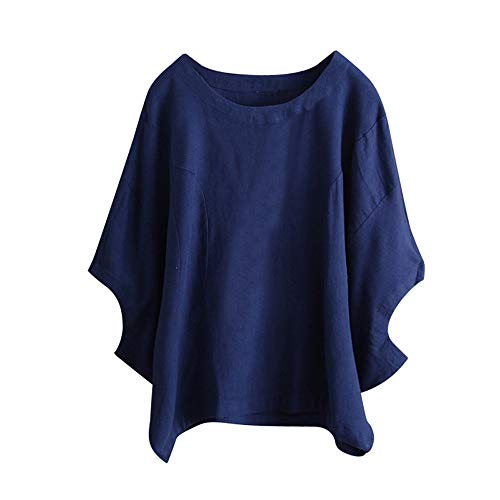 (Willow S Plus Size Women Short Sleeve Round Neck Dandelion Printing Cotton and Linen Loose T-Shirts Tops Blouses Blue)