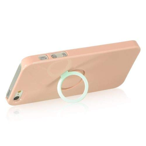 LUXMO iPhone 5 CRYSTAL Case with Rear CASE RING, iPhone 5 Ring Crystal Case! (Pink)