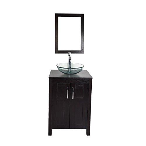 Morden Bathroom Vanity with Tempered Glass Vessel Sink Ro...